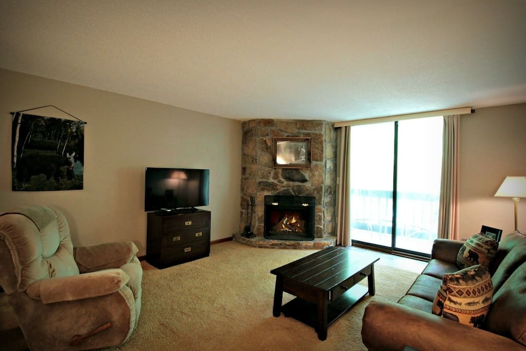 Comfortable Seating in Living Area with Fireplace for those Cool Nights and 42 Inch Flat Screen TV