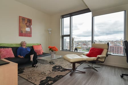 This is a brand new apartment located in Seattle's most talked about high rise building with a walk score of 98. It faces east and has both city and sunrise views The space has one queen bed and one comfortable couch/full futon. It is very luxurious.