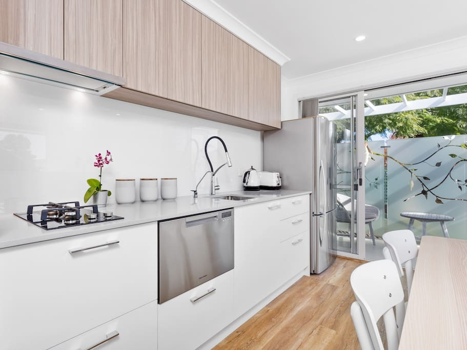 Enjoy fresh air and natural light in the kitchen area
