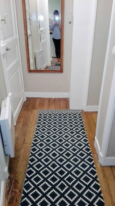 Petite entrée donnant accès à la chambre et au séjour.