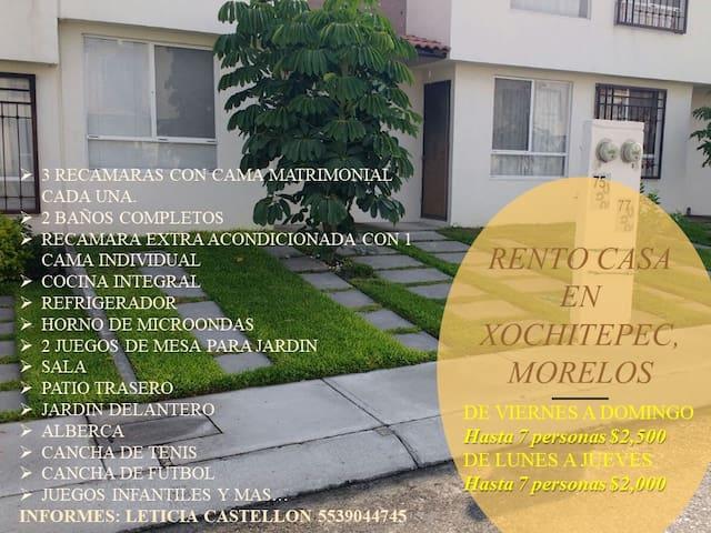 Casa en Xochitepec, Morelos en tranquilo fracc.