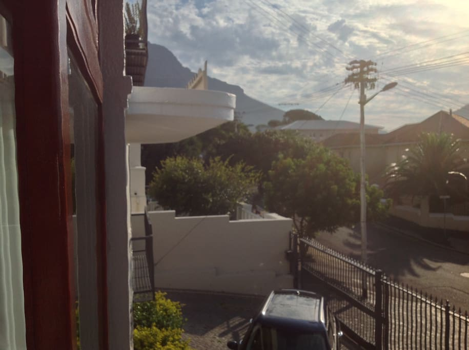 View from balcony of city bowl, table mountain and lions head