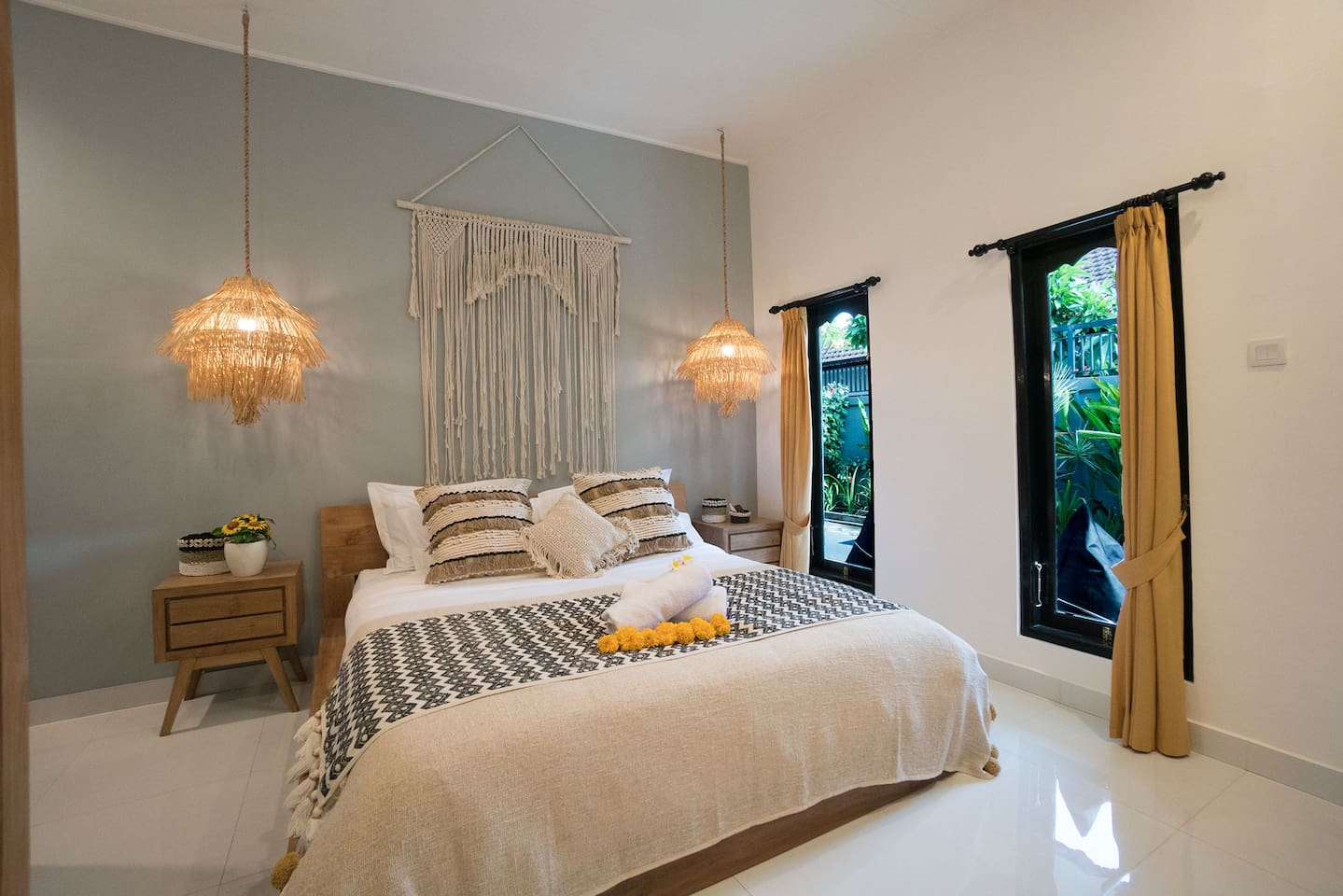 Bedroom #2. In the villa, we are using a high-quality linens, pillows and duvets. Our Japanese cotton linens will ensure a smooth touch on your skin.