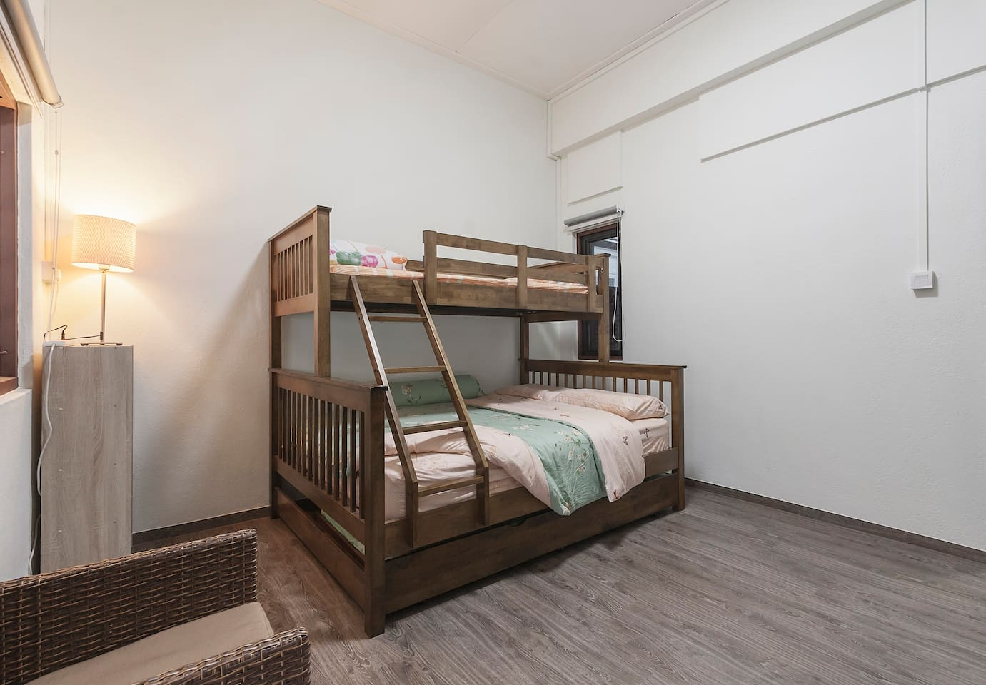 spacious room with a cool bed for 4 person