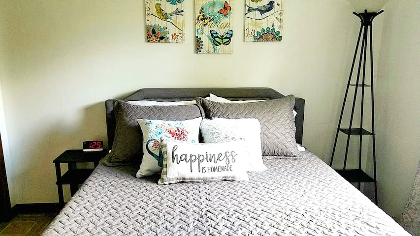 The platform bed has a 12 inch memory foam mattress with a bamboo blend mattress pad and 800 thread count sheets. Who's ready for a nap?