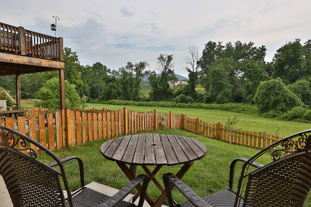 View of the backyard, field and Moore's Creek that borders the apartment