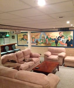 Notre Dame themed Recreation Room - Basement - South Bend