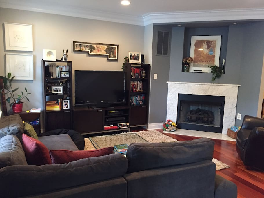 Cable tv and fireplace in the living room