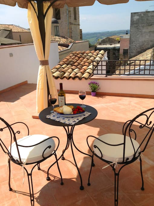 On the upper terrace