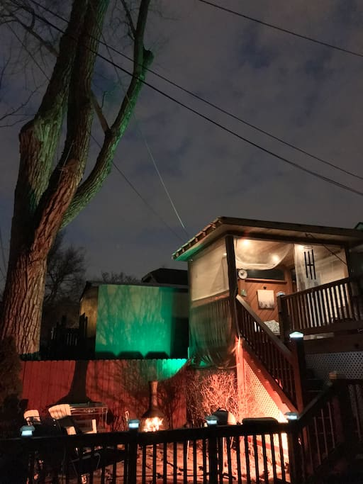 Outdoor LED multicolor lighting options in the backyard to create the perfect ambient setting for you and your guests.