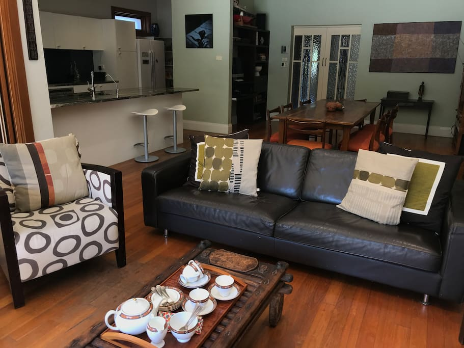 Leather lounge and armchairs
