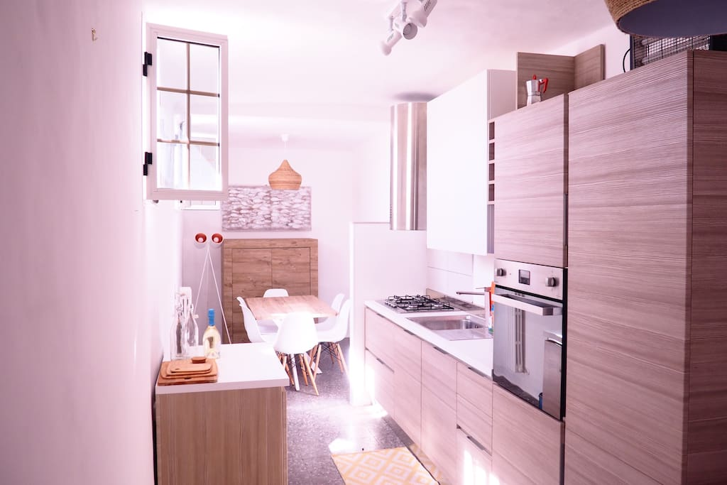 Large kitchen with walkout rooftop terrace