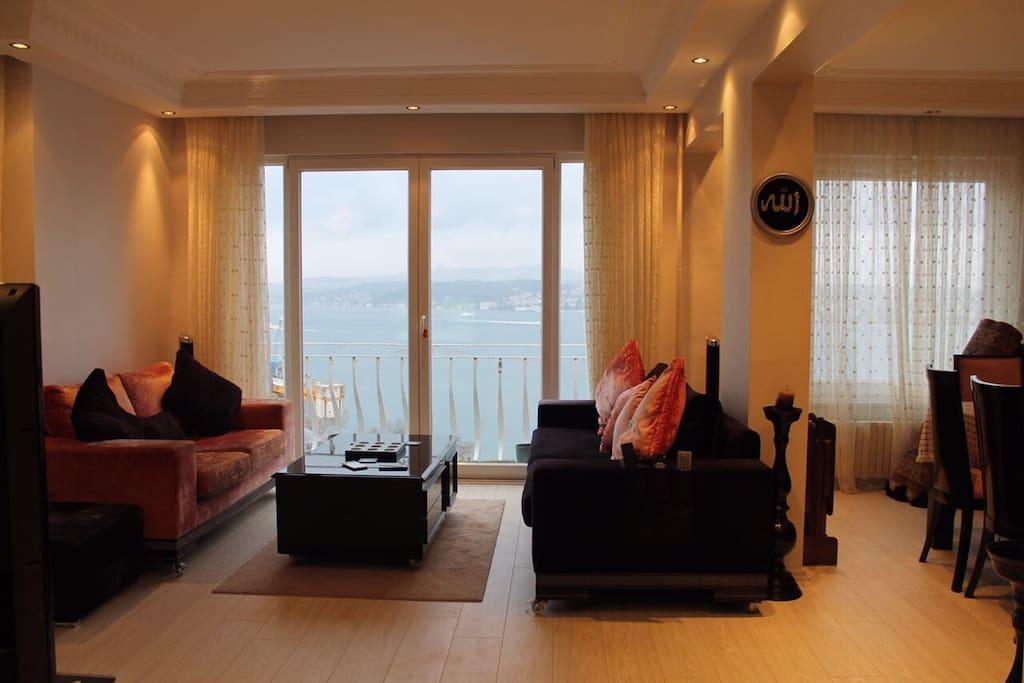 Living Room with the views of Bosporus