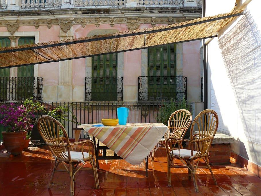 Pergola in the terrace of the apartment