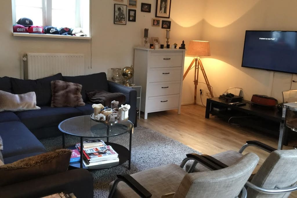 Another look at the living room, including a flat screen TV and a large speaker for music :)