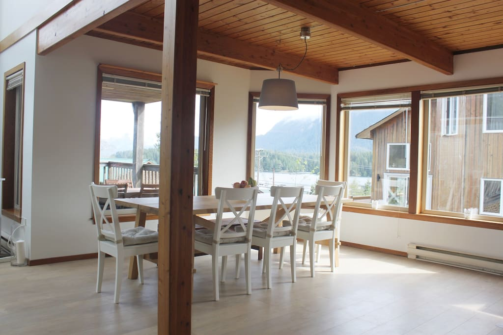 Dining room with a view - not pictured is a self made cedar bench