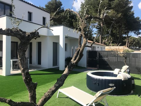 Valras plage villa T4 neuve 100 m2 avec jacuzzi