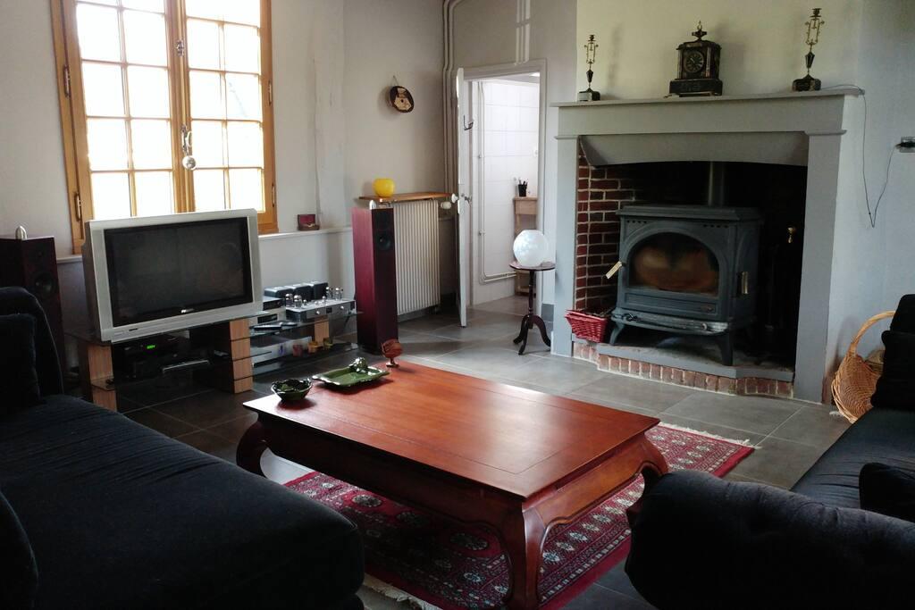 Salon avec poêle à bois, canapé, méridienne. TV, VOD et lecteur DVD / Blu-Ray (la hifi n'est pas disponible).