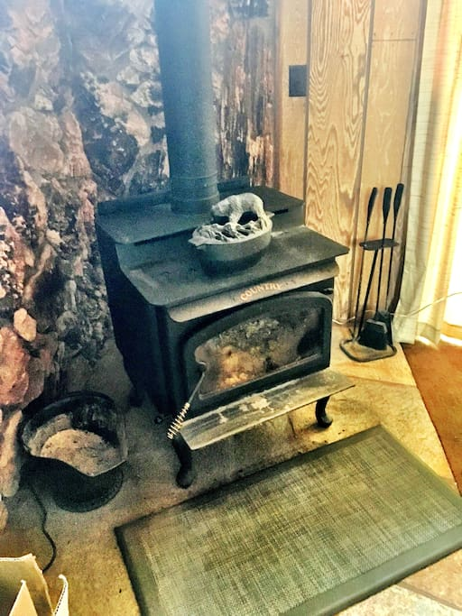 Real wood firebox, keeps the cabin warm and toasty