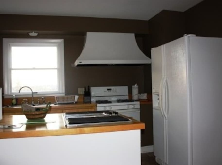 Side by side refrigerator with ice maker and gas stove in the kitchen