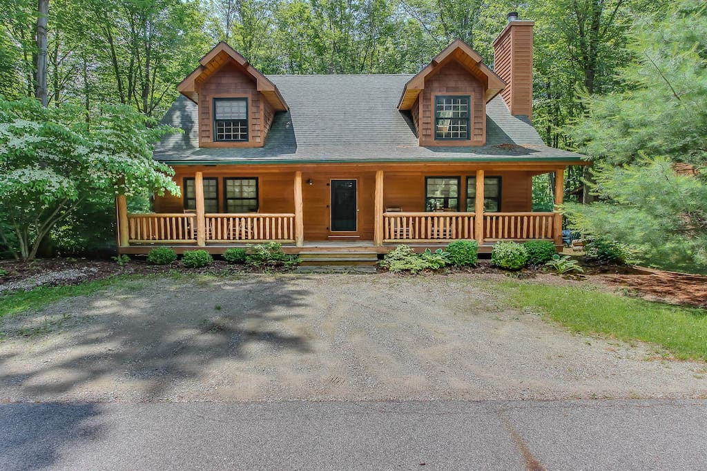 It is a log-cabin style home close to Goshorn Lake.