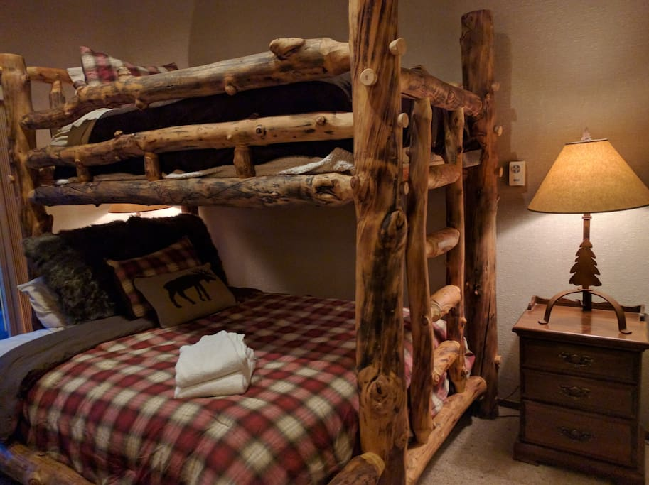 Bunk Bed ladder gives easy access if someone sleeps below.
