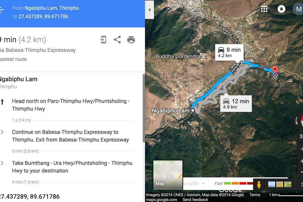 Directions to Thimphu Bed & Breakfast, Post Box 321, Semthokha