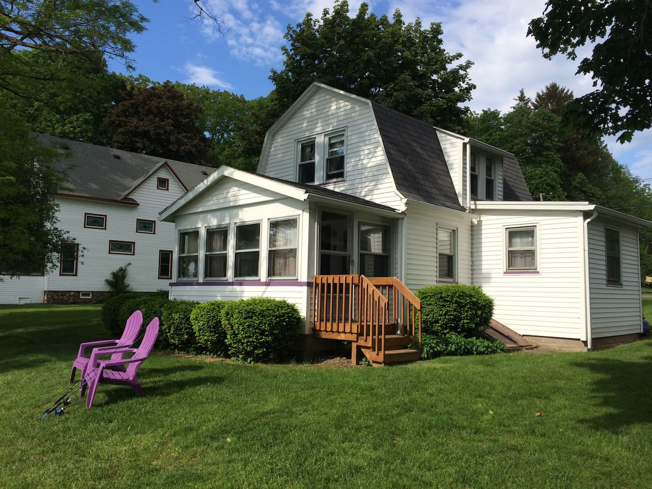 Enclosed sitting porch overlooking the Bay is heated and air conditioned.