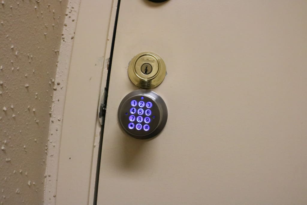 There is a 5-digit passcode on the door handle, so you'll have privacy in your bedroom.