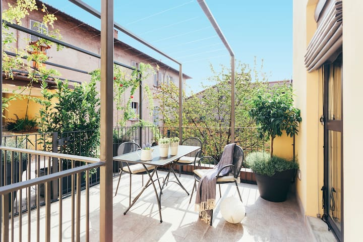 BRIGHT three room apt. with BIG PRIVATE TERRACE