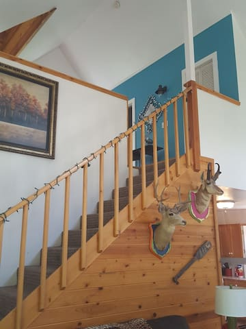 stairs going to loft bedroom and bath