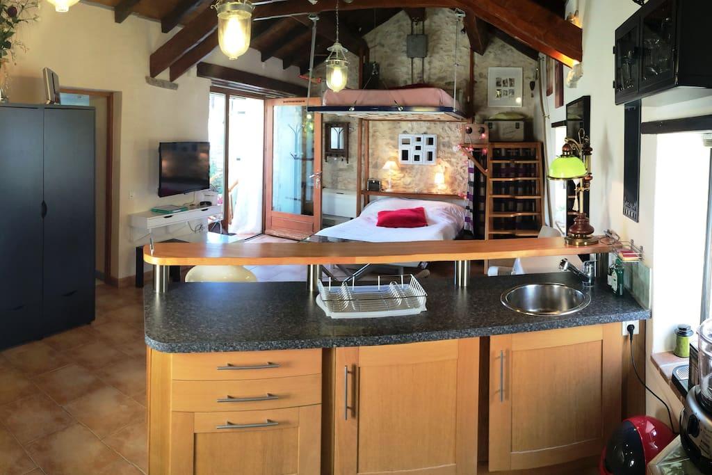 Grande pièce avec belle hauteur sous plafond, poutres et pierres apparentes ! Avec 2 couchages de 2 places !