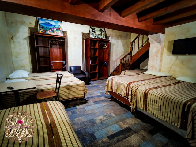 Deluxe Family Room, this room has 10 twin beds and also a mezzanine.