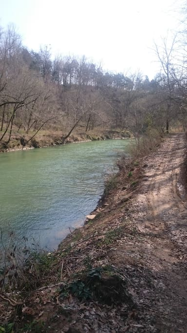 950 feet of river frontage with road, dock, cave, boats and more.
