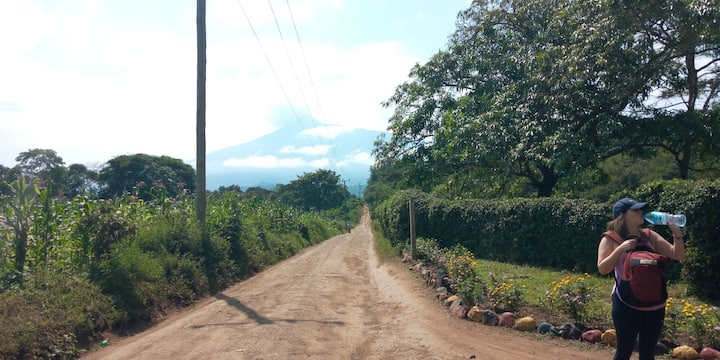 Country roads with Mount Meru view