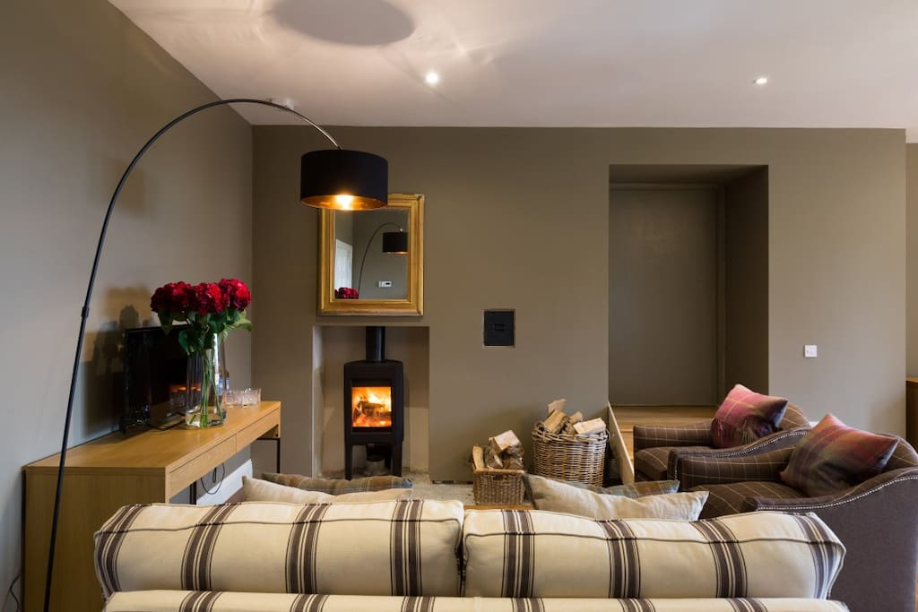 Private drawing room with wood burning stove