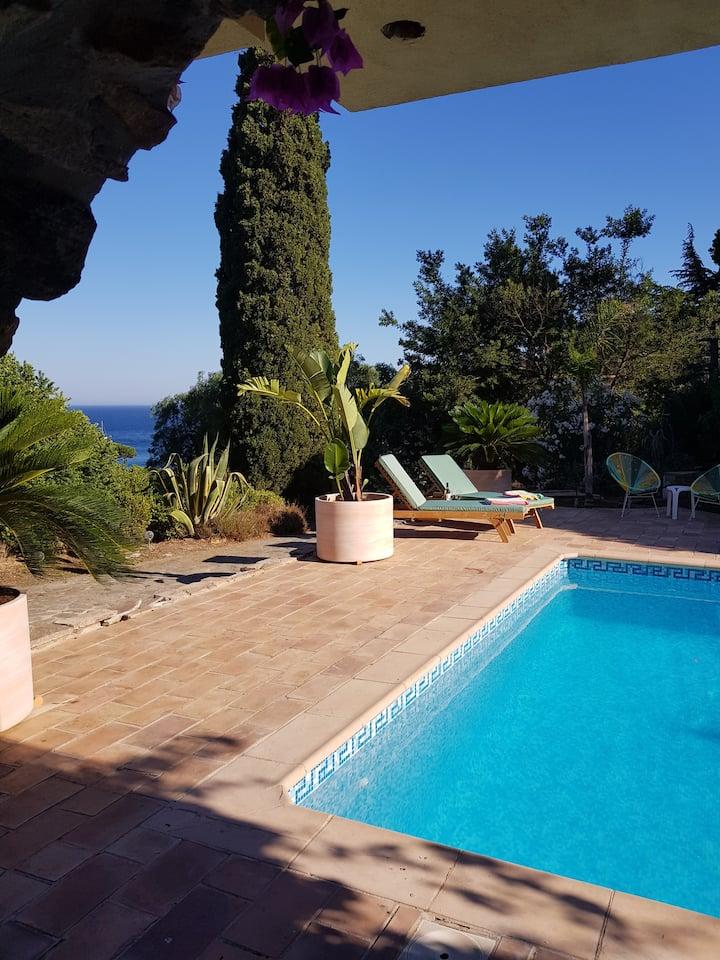 Stunning villa with sea views, pool, & sandy beach