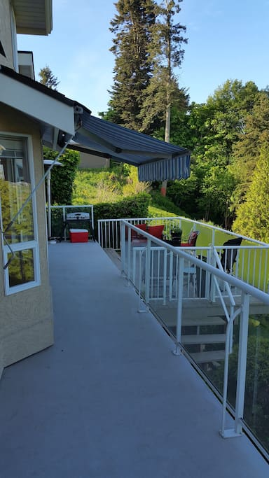 Private balcony, 2 awnings, furniture, Weber  barbeque, views to private backyard