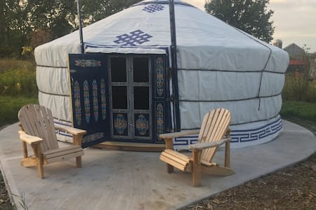 Blue Mongolian Yurt on 200 acre Biodynamic Farm