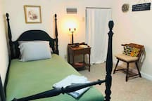 Additional private bedroom w/ luxury twin mattress automatically included for reservations of three guests, and included for a small additional fee for reservations of two who wish to have separate rooms. Room includes closet, desk, reading chair.