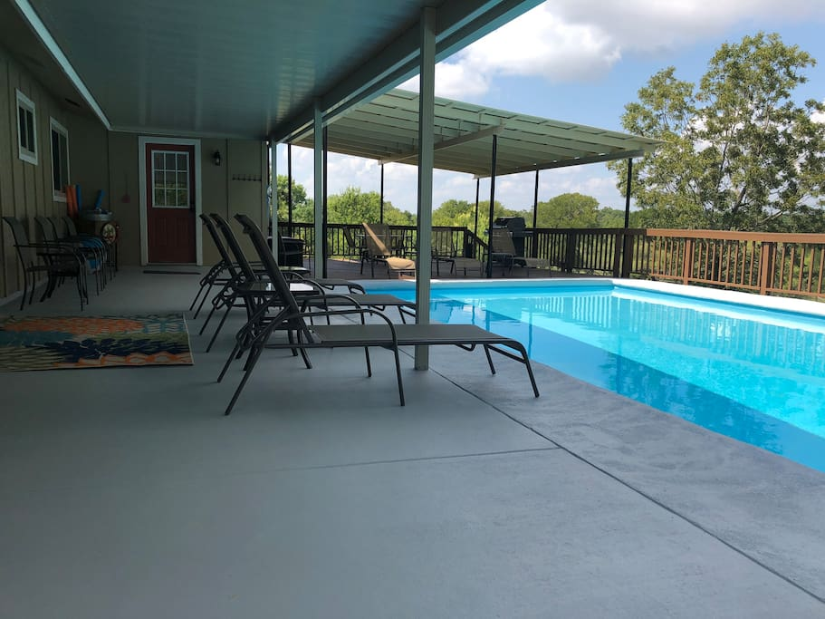 Pristine pool with 2 covered decks