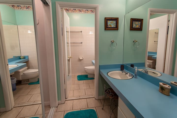 Two full bathrooms with shower tub combos.