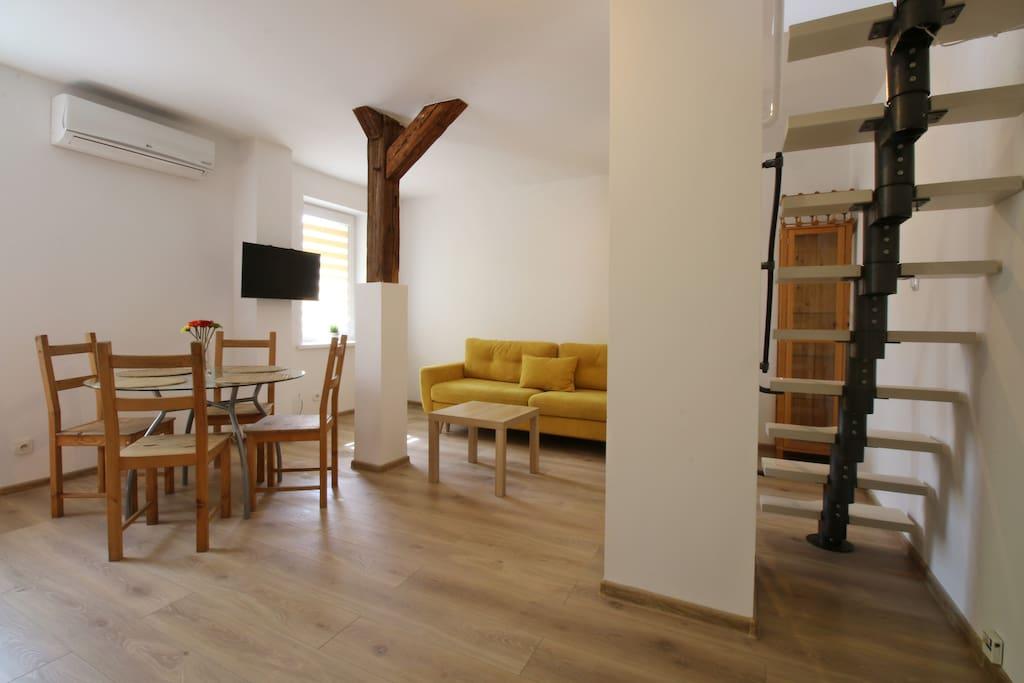 Living room after renovation - AC!