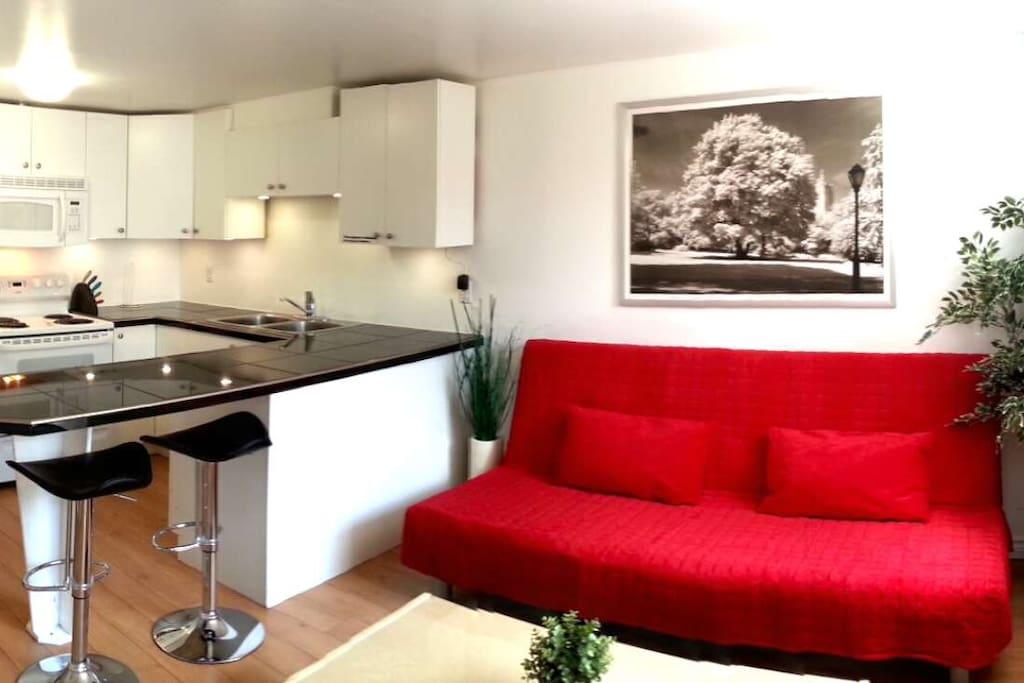 Open concept living room/kitchen. Granite countertops in kitchen.