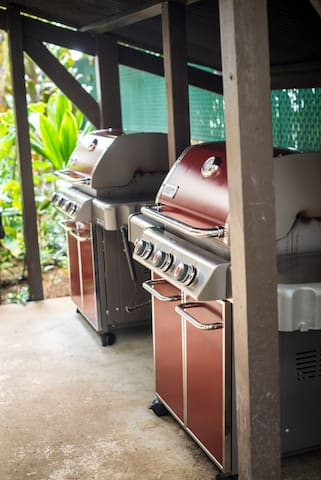 New BBQ grill is located right side of ocean front building.