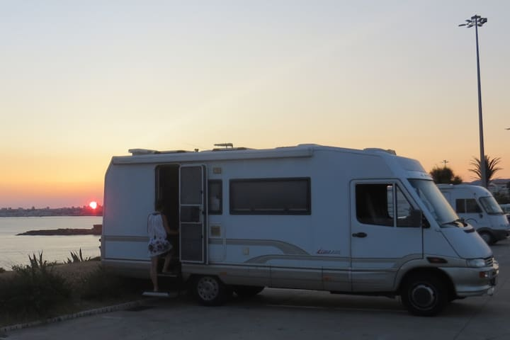 Motorhome standing in the beach