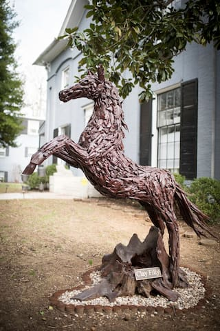 "We named our driftwood sculpture ""Clay Filly"""