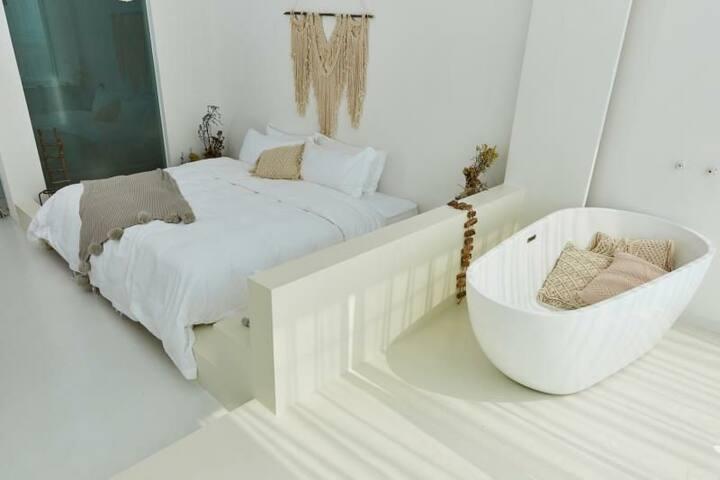 一线海景度假民宿/渔船回港  在摩洛哥/翔安近机场\游池/自动窗帘\ 加大床