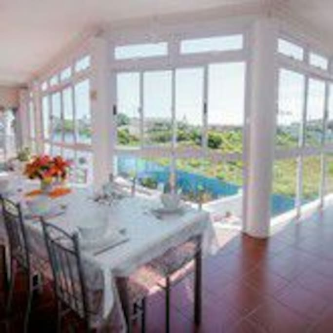 dining area with stunning views
