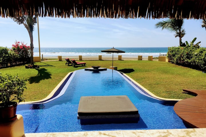 "Ocean Front Villa On ""South Beach"" Troncones"